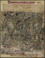 "1863 MAP, Civil War, antique, Military, Chancellorsville Virginia, 24""x18"""