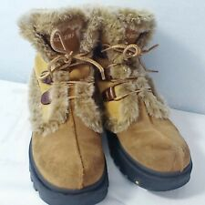 Sketchers Woman Ankle Boots Size 8.5 Leather Suede Faux Fur Lace Up Winter Brown