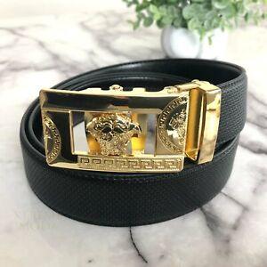 Gold buckle greek lion design authomatic belt