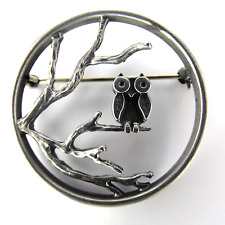 Sterling Argent Hibou Broche orfèvre Klaus Börner Owl silver brooch