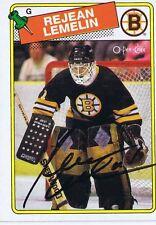 Rejean Lemelin 1988 OPC Autograph #186 Bruins