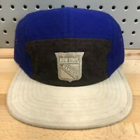 New York Rangers NHL Hockey Mitchell & Ness Buckle Back Suede Cap EUC Hat RARE!
