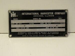 International Harvester VIN plate model 1110 4X4 Metal Nameplate Ornament