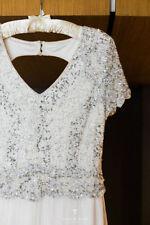 Sequin Lace Regular Size Short Sleeve Wedding Dresses