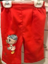 Vintage 12 Month Orange Baby Toddler Pants With Duckling