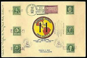 SUBMARINE DIVISON 11 - COCO SOLO CANAL ZONE - NAVY DAY 1940 - 6 NAME CANCELS