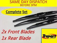 ROVER STREETWISE 03-04 FRONT & REAR WINDSCREEN WIPER BLADES X3 COMPLETE SET