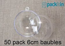 6cm (x) Clear Acrylic Two Piece Round Baubles Balls Christmas Ornaments