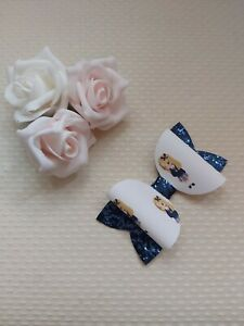 School Girl Hair Bow Clip Navy Blue Uniform Blonde Hair glitter 3 inch