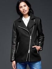GAP Leather sleeve moto jacket NWT SZ M TALL true black