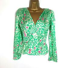 Bailey & Buetow Alexis Panther Blusa Wrap Top Animal Print Manga Larga Verde