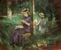 Woman And Child In A Garden Berthe Morisot Fine Art Print on Canvas Repro Small