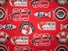 Seafood Crawfish Fish Crabs Lobster Sea Food Snacks Food Cotton Fabric FQ