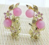 Pink Moonglow Rhinestone Enamel Gold Tone Flower Earrings Vintage