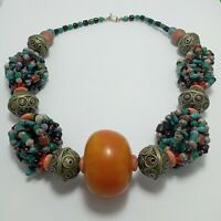 Vintage Necklace Moroccan Berber Multicolor Stone Amber Old Look Enamel Egg ball