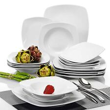 JULIA 18pieces Porcelain Service Set Dessert Soup Dinner Plates Cream White