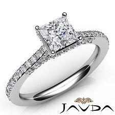 Princess Shape Pave Set Diamond Engagement Ring GIA E Color VVS2 Platinum 1.36Ct