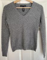 Marina Luna 100% 2 Ply Cashmere V Neck Sweater Grey Size Small