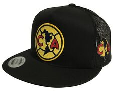 CLUB AGUILAS DEL AMERICA HA 2 LOGOS GOLD PATCH HAT BLACK MESH TRUCKER SNAPBACK