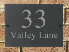 Rustic Slate House Sign Plaque Door Number Personalised Name Plate 290mm x 210mm
