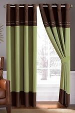 "Luxury Embroidered Window Curtain Panel Grommet 21106 Green Brown 58 x 84"" Long"