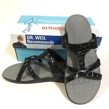 Orthaheel Sandals Black Patent Croc Seaview Triple Strap Slide Comfort Sz 8