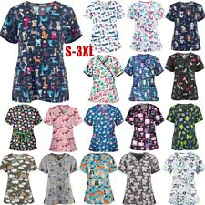 Womens Hospital Medical Nursing Scrubs Tunic Uniform Tops Animal Printed Blouse