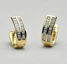 14k Yellow Gold Channel Set 1.2 cts. Baguette Diamond Huggie Earrings