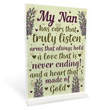 Nan Decorations Standing Sign Nanny Birthday Christmas Gift Grandparent Keepsake