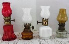 VItg 4 Miniature Oil Kerosene Lamps Red White Amber Clear Extra Small