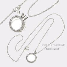 Authentic Pandora Silver Locket Medium Sapphire Glass CZ Necklace 396484CZ-60