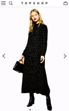 Topshop Black Polka Dot Hankerchief Midi Maxi Dress 12 14 Bnwt