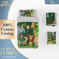 Laughing Animals 2 Kids Cartoon Green Quilt Cover Queen Size Single Double King