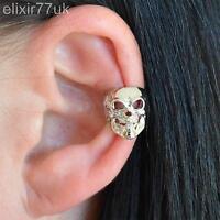 NEW SILVER SKULL CARTILAGE EAR CUFF CLIP ON EARRINGS GOTHIC PUNK ROCK JEWELLERY