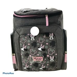 Disney Minnie Mouse Gray & Pink Packpack Diaper Bag NWT