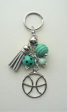 Pisces The Fish Star Sign Zodiac Tassel  Keyring or Bag Charm  KCJ2150