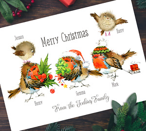 Pack of A5 Xmas Robins Personalised Family Christmas Cards Multipack & Envelopes
