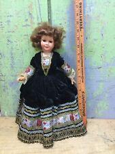 Vintage Celluloid Doll France Turtle Mark Velvet Dress Ornate Trim