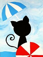 """~FREE SHIPPING~original painting ACEO size signed happy art """"Beach Cat"""""""