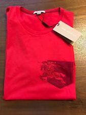 New Authentic Burberry Men Big Knight Prorsum Pocket Logo Red T-Shirt M $195