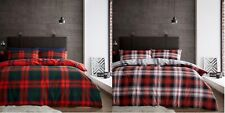 Luxury Flannelette Scottish Tartan Check Duvet Set Checked Duvet/Quilt Cover Set