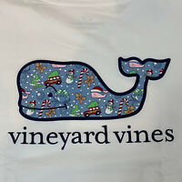 Vineyard Vines Womens Holiday Whale Fill Pocket White L/S T-Shirt Sz Large -NEW