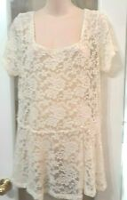 Womens Torrid White Open Lace Dress Formal Blouse Shirt Tunic Top  size 1 M L