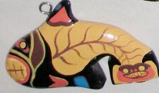 "Blue Yellow 4 1/2"" Fancy Painted Dala Fish Figurine Ornament"