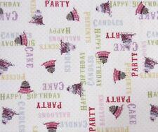 Clothworks Hullabaloo Birthday Cakes Light Cream Fabric