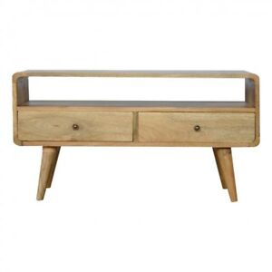 2 Drawer Curved Media TV Unit Solid Wood Scandi Style Oak Handmade Furniture