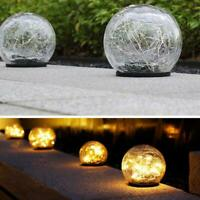 Solar Crackle Glass Ball LED Light Waterproof Ground Lamp for Garden Decor