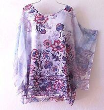 NEW~Blue Berry Paisley Rose Peasant Blouse Shirt Vacation Boho Plus Top~22/24/2X