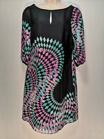 Monsoon Black w/ Blue and Pink Diamond Print Silk Shift Dress - Size 10 (528g)