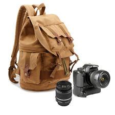 New Men Canvas DSLR SLR Padded Camera Bag Lens Bag Backpack Daypack Pack